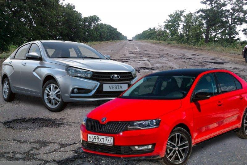 LADA Vesta против Skoda Rapid. Коллаж: портал Driver News