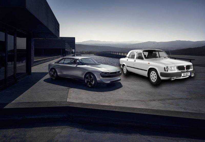 Peugeot E-Legend и «Волга» рядом, для наглядности. Коллаж: портал Driver-News
